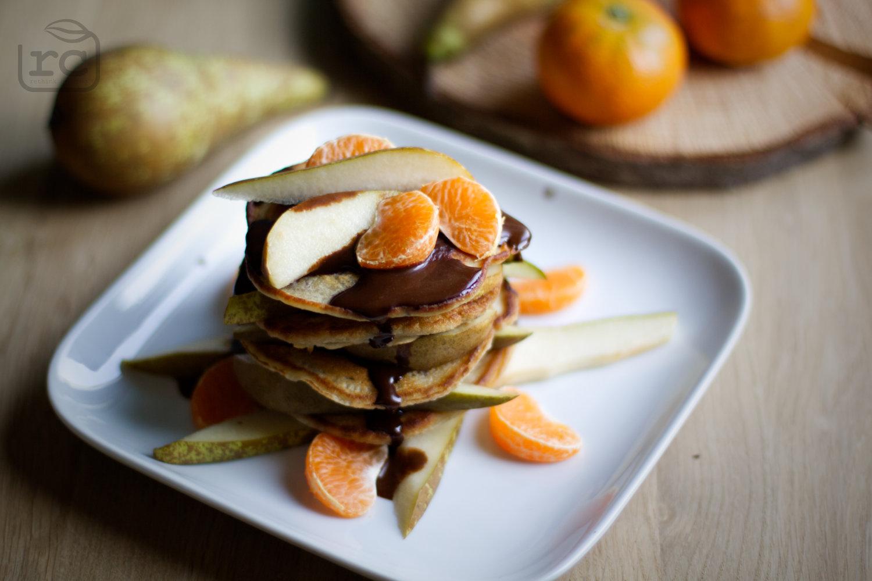 Rezept Pancakes mit Birnen und Carob Soße