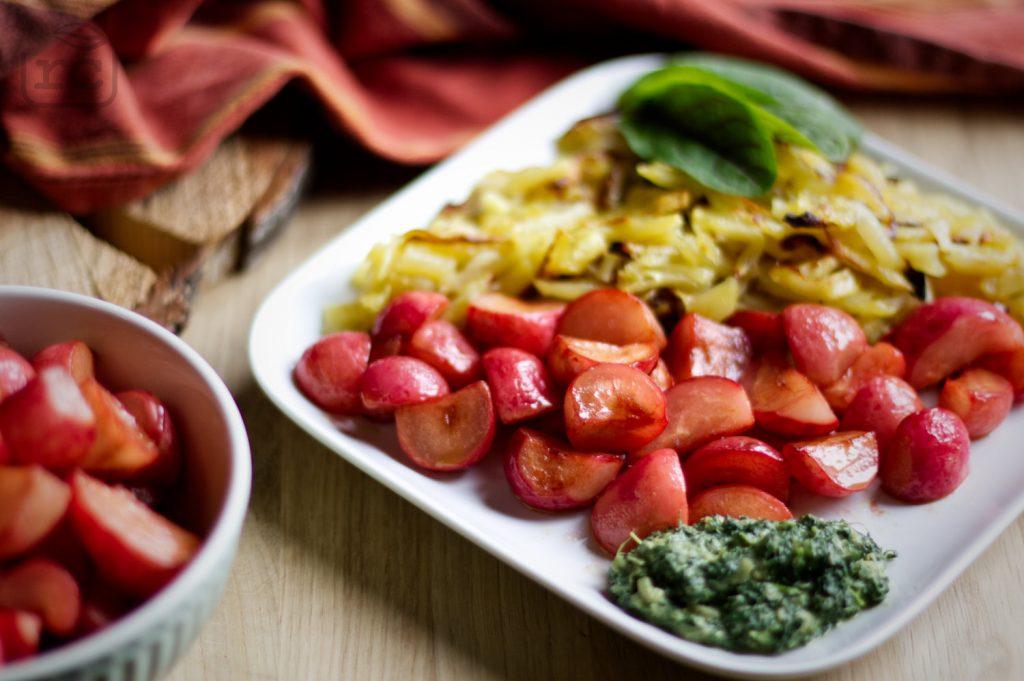Radieschen Gemüse gebraten