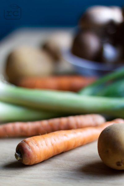 Zutaten Kartoffel-Karotten-Lauch Suppe